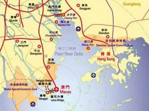 Location of Hong Kong (60 km north-east of Macau