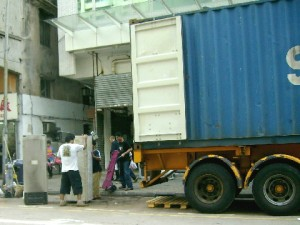 Loading secondhand refrigerators for export