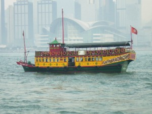 A Tourist Cruise Boat in Victoria Harbour