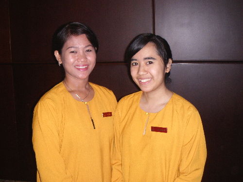 Friendly and Helpful i-Hotel Receptionists, Fretika (L) & Danila (R)