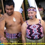 Maoris of New Zealand outside their pavilion