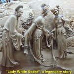 "A fine carving about a popular Chinese legend, ""Lady White Snake"" in Leifeng Pagoda"
