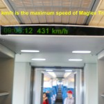 The top speed of the Maglev train is 431 km/h