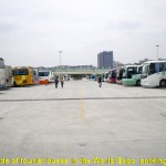 Hundreds of tourist buses parked neatly outside the Expo site
