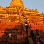 Tourists climbing up Shwesandaw Pagoda to watch sunset