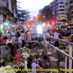 Busy night-market in Chinatown, Yangon