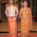 A young Myanmar couple wearing ancient traditional costumes