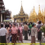 A throng of people visiting Shwedagon Pagoda, Yangon