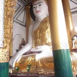 A Lord Buddha statue in a shrine at Shwedagon Pagoda