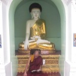 A monk reading a scripture in front of Lord Buddha statue