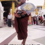 A devoted Buddhist monk walking round Shwedagon Pagoda