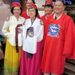 Writer's tour members in Korean traditional clothes