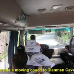Inside a moving coach to Tianmen Cave